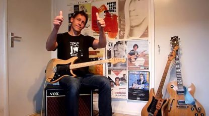 Jan Wouter Oostenrijk with his electric quarter-tone guitar